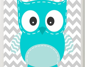Owl Nursery Art Turquoise and Grey Gender Neutral