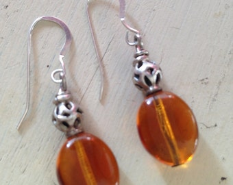 Glass and Sterling Bead Earrings