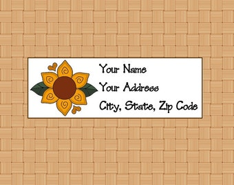 Address Labels Personalized Labels Return Labels Sunflower Hearts Label