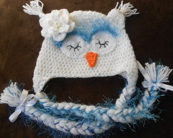 Owl hat crochet, white, sleepy owl  for newborn totoddler, baby girl hat, Made to order