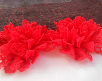 "Red Frayed  Lace flower, mesh,approx. 3.5""  or 9 cm in diameter , use in DIY craft for baby,children accessories"