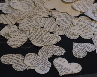 Vintage Upcycled Book Page Heart Confetti for weddings
