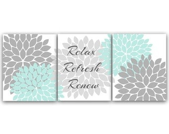 Relax Refresh Renew Bathroom Wall Art Instant Download Bath Art Printable Modern Bathroom