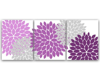 Home Decor CANVAS Wall Art, Lavender and Gray Flower Burst Art PRINTS, Bathroom Wall Decor, Purple Bedroom Decor, Nursery Wall Art - HOME41
