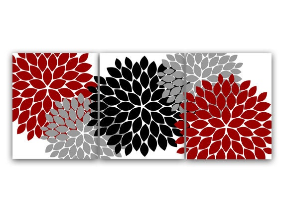 Home decor wall art red gray flower burst art canvas for Red and gray bathroom sets