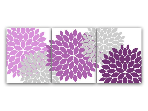 Home decor canvas wall art lavender and gray flower burst art for Gray bathroom wall decor