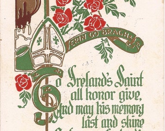Erin Go Bragh Saint-Patrick's Day Vintage postcard, 1911 Copyright