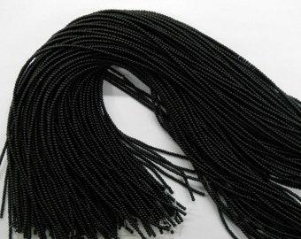 "3mm round jet beads, 16"" strand long"