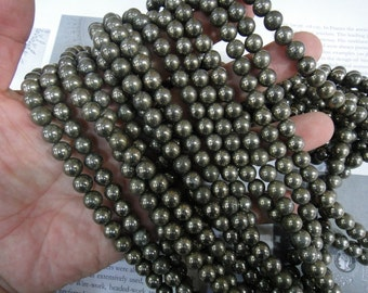 genuine pyrite, 8mm natural pyrite round beads, 15.5 inch