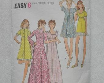 VINTAGE Uncut BUTTERICK Pattern 6589, SZ 12, Bust 34, Robe & Gown, sleepware, lounge ware