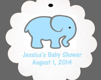 36 Personalized Baby Elephant Baby Shower Scalloped Tags Party Favors