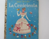 Vintage childs book, Cinderella Little Golden Book in Spanish, Cinderella in Spanish vintage book, Spanish language Little Golden Book