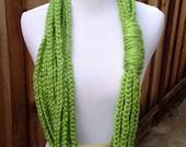 Chain Loop Infinity Scarf; Lime Chain Loop Scarf; Green Loop Scarf; Womens Infinity Scarf; Spring Infinity Scarf;