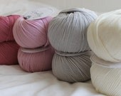Woolly DMC Yarn Bundle - Merino Yarn (Superwash) 100% Woolly DMC, 5 ply -  Pink & Grey Bundle - 8 skeins