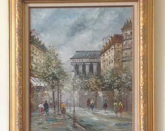 Vintage Paris Street Scene Springtime in Paris Oil Painting in Gold Frame