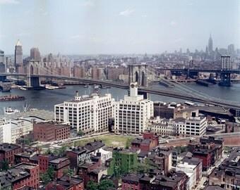 New York 1963 64 Brooklyn Bridge Empire State St George Hotel View Platform Photo Vintage Look A. v. Schwertfuehrer (1891-1967) Open Edition