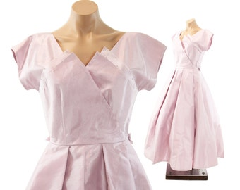 Vintage 50s 60s Party Dress Lilac Chiffon Tea Length Dress Short Sleeves Cocktail Gown Womens Summer Fashion Wedding 1950s Medium M