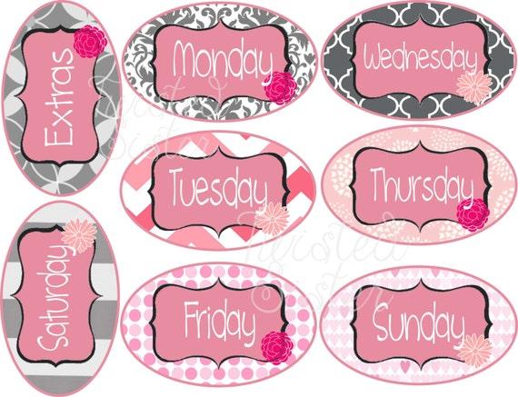 Items similar to Days of The Week Closet Organizer Tags