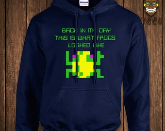 Funny Video Game Hoodie Retro Arcade Geek Nerd Hooded Sweater Sweatshirt Game Back In My Day This Is What Frogs Looked Like Old School Humor
