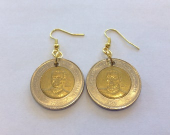 Dominican Republic 10 Pesos Two-Toned, Bi-Metal Coin Earrings