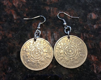 British 2 Shilling Coin Earrings