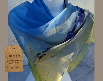 Highway motif scarf SKY BLUE