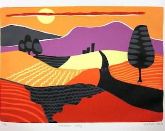 paarse berg, lino print