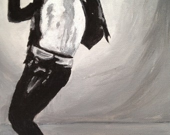 Black and White  painting of Michael Jackson,Michael Joseph Jackson,The king of Pop,The Gloved One, MJ, fathers day