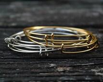 Adjustable Bangle Bracelet, Rose Gold, Silver, Gold, Wire Wrapped Adjustable Bangles, 1pc