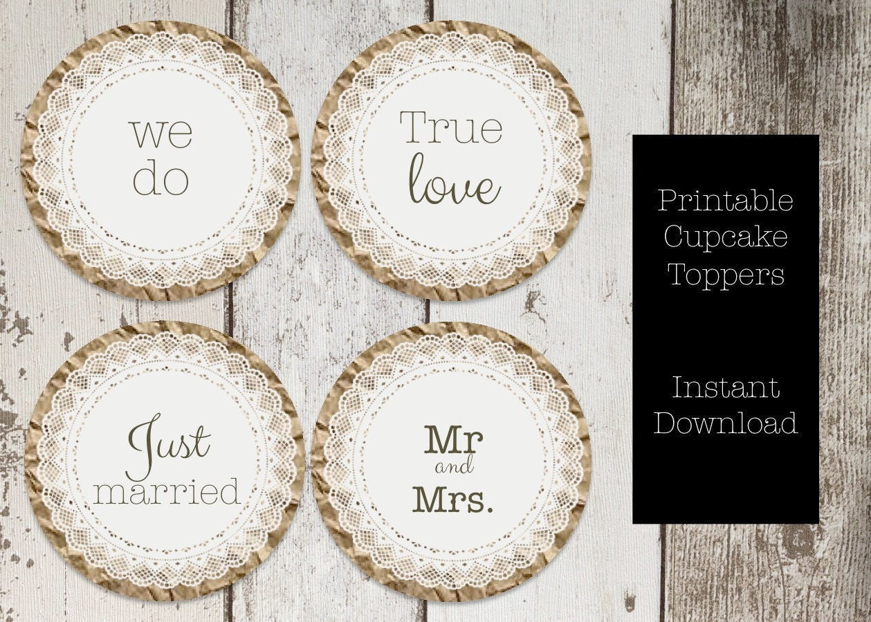 paper doily wedding cupcake topper printable wedding we do