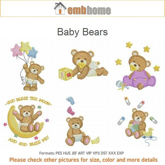 Baby bears nursery animal quilt machine embroidery designs