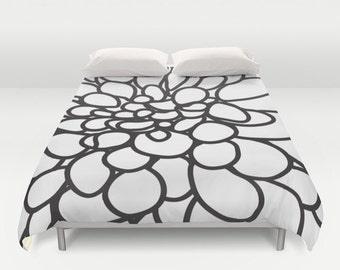 Black and White Modern Dahlia Flower Duvet Cover - Queen Size Duvet Cover - King Size Duvet Cover - Minimalist Duvet Cover