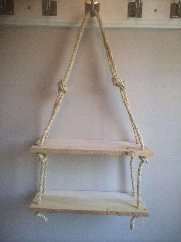 Reclaimed Pallet Wood Rope Shelves