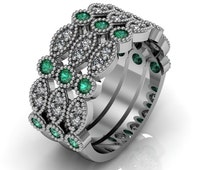 Art Deco Ring -  Antique Style Sterling Silver Created Emerald Engagement and Anniversary Ring  Trio Set