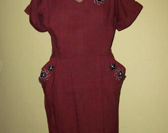 1940's Rust Wiggle Dress