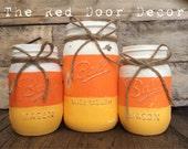 Halloween Candy Corn Rustic Chalk Painted Fall Mason Jars