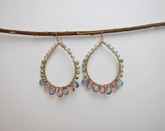 Pink Topaz, Blue and Green Mystic Quartz and Pearl 14K Rose Gold Filled Handmade Gem Wrapped Earrings