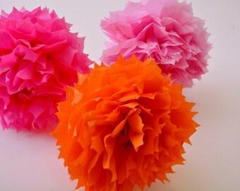 3 paper flower pom poms set -- bubblegum pink and orange --party / nursary/ kids room decoration