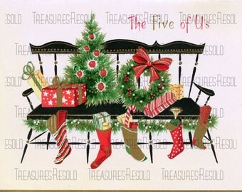 Country Bench With Presents & Stocking From The Five Of Us Christmas Card #157 Digital Download