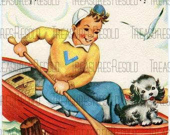 Happy Birthday Boy & Dog In Boat Card #314 Digital Download