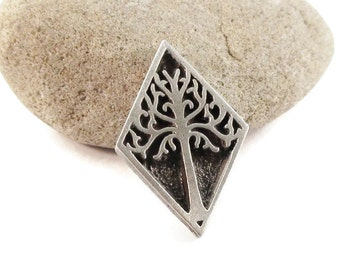 Tree Metal Buttons 27mm Antique Silver Diamond Shaped Qty 3