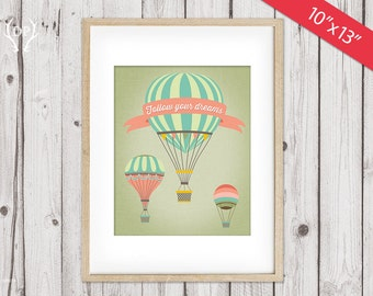 """Hot Air Balloons printable nursery wall art decor 