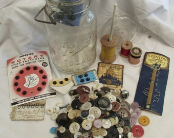 "GIFT IDEA! ""Grandma's Sewing Jar"" Vintage Ball Quart Mason Jar Stuffed With Vintage Sewing Notions"