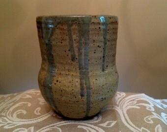 Handmade Ceramic White and Celedon Vase