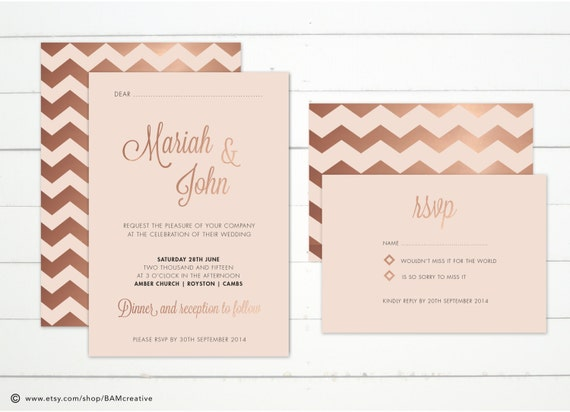 items similar to rose gold foil geometric wedding