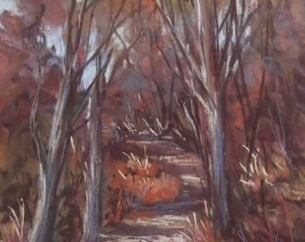 Bushpath pastel painting on sanded paper. Impressionist painting. Landscape painting. Original landscape painting,