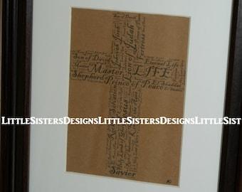 Names of Jesus Cross Word Art