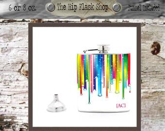 Rainbow Drips Monogram Flask  21st Birthday Gift Bridal Party Groomsman Bridesmaid Liquor Flask Funnel Custom