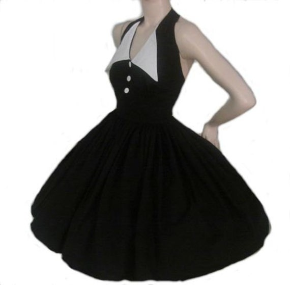 Pin Up Dress Black Dress Halter Swing Dress Pinup Dress