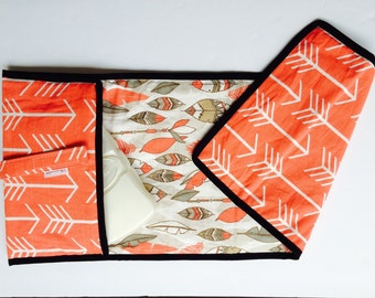 Diaper clutch - Changing pad - Coral - Arrow - Feather All-in-One 100% cotton